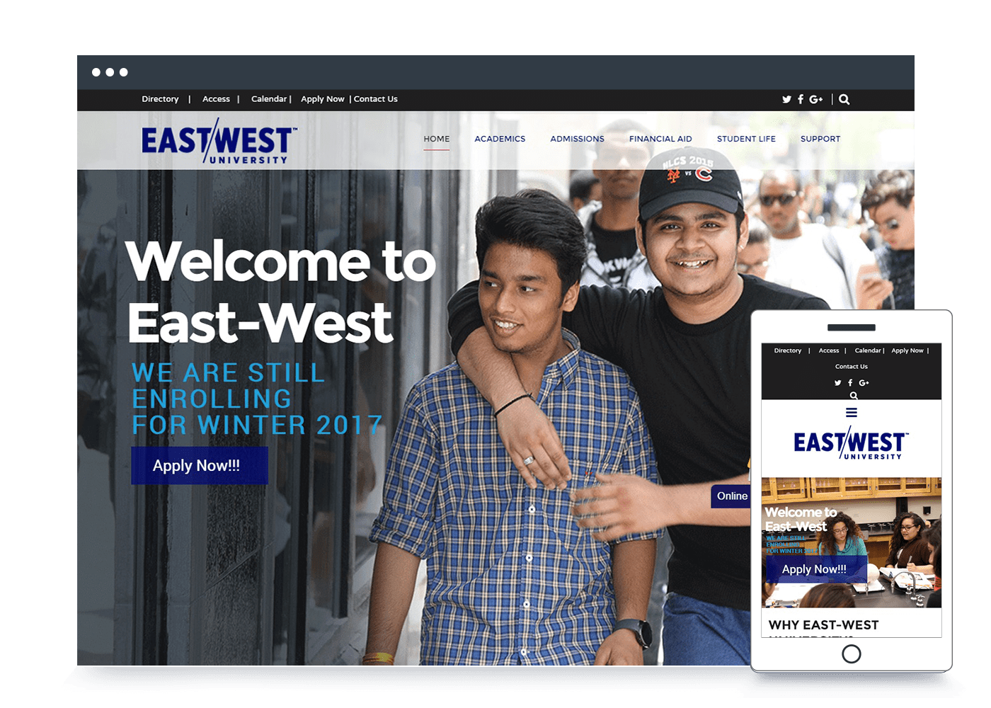 east west university mockup - West Website